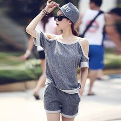 XGZ - Set: Short-Sleeve Cutout-Shoulder Top + Drawstring Shorts