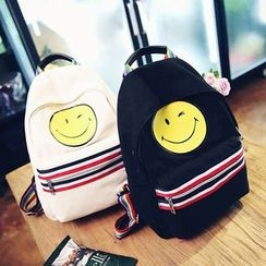 Youme - Smiley Face Print Striped Backpack