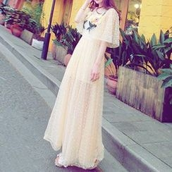 Arroba - Elbow-Sleeve Embroidered Maxi Dress