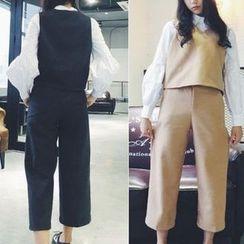 Cloud Nine - Set: V-Neck Vest + Cropped Pants