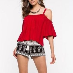 Flobo - Off-Shoulder Paneled Cropped Top