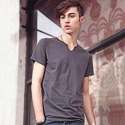 Dot2Dot - V-Neck Short-Sleeve T-Shirt