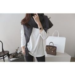 DAILY LOOK - Long Sleeve Round-Neck Mélange T-Shirt