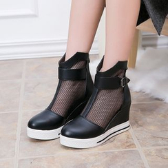 Hannah - Mesh Panel Wedge Ankle Boots