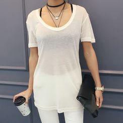 DANI LOVE - Short-Sleeve Sheer Wool Blend T-Shirt