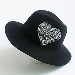 EVEN - Embellished Heart Woolen Fedora Hat