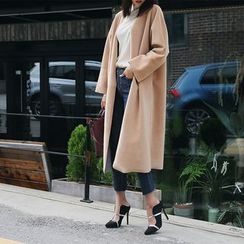DABAGIRL - Wide-Cuff Open-Front Long Coat