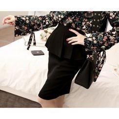 Marlangrouge - Zip-Back Peplum Skirt