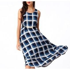 GRACI - Plaid Sleeveless Chiffon Dress
