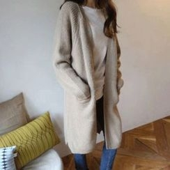 Hello sweety - Open-Front Long Rib-Knit Cardigan