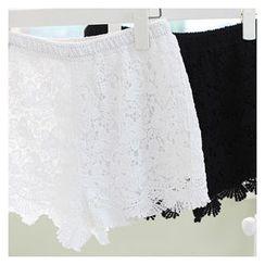 Sechuna - Band-Waist Lace Shorts