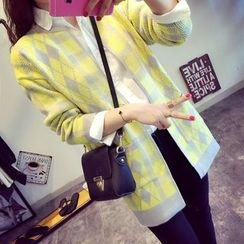 Lucy Girl - Patterned Knit Long Jacket