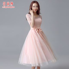 MSSBridal - Lace Panel Elbow-Sleeve Tulle Midi Prom Dress