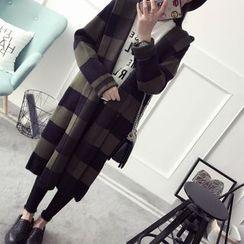 Qimi - Striped Hooded Long Cardigan