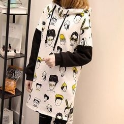 VIZZI - Cartoon Print Long Hoodie