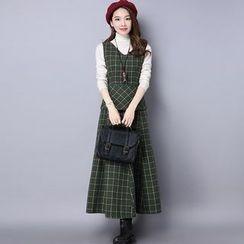 Diosa - 套装: 樽领针织上衣 + 格子无袖连衣裙