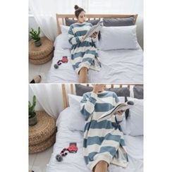 migunstyle - Slit-Sided Striped Long Pullover
