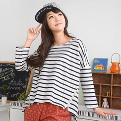 59 Seconds - Zip Hem Striped T-Shirt