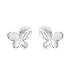 MaBelle - 14K White Gold Butterfly Stud Earrings