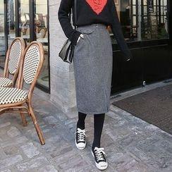 Seoul Fashion - Checked Wool Blend Midi Skirt