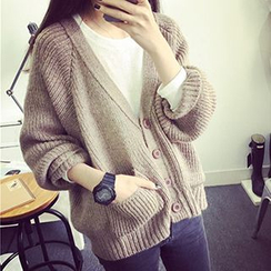 FR - V-Neck Batwing Sleeve Cardigan