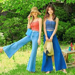 chuu - Mid-Rise Washed Bell-Bottom Jeans