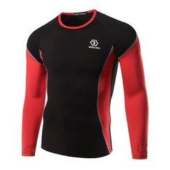 Hansel - 运动双色速干长袖T恤