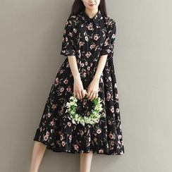 chome - Floral Print Midi Shirtdress