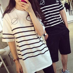 Eva Fashion - Striped Couple T-Shirt