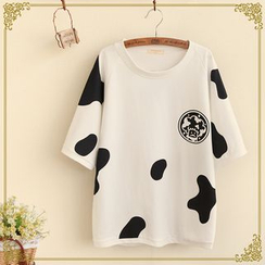 Fairyland - Milk Cow Print Short-Sleeve Pullover
