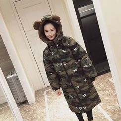 Coolvibe - Camouflage Print Long Padded Zip Coat