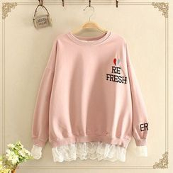 Angel Love - Lace Trim Sweatshirt