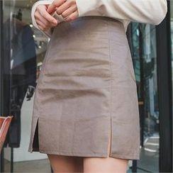 ERANZI - Slit-Hem Faux-Leather Mini Skirt