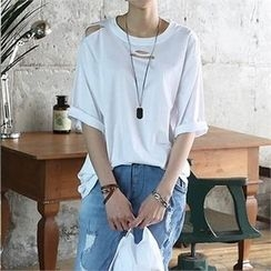 CHICFOX - Elbow-Sleeve Distressed T-Shirt