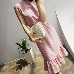 chuu - 荷叶摆麻混纺裙