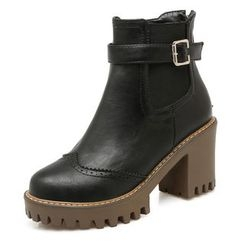 Gizmal Boots - Buckled Block Heel Ankle Boots