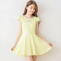 Tokyo Fashion - Cap-Sleeve Cutout Lace Dress