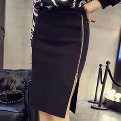 Champi - Side Zip Midi Skirt