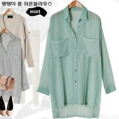 Miss Look - Polka-Dot Dip-Back Chiffon Blouse
