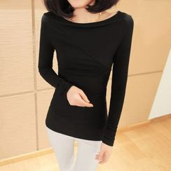 Simpure - Long-Sleeve Boatneck T-Shirt