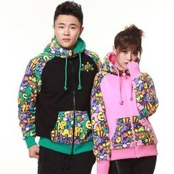 HappyTee - Lettering Panel Couple Hooded Jacket