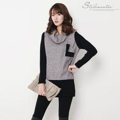 Stylementor - Cowl-Neck Two-Tone Long Top
