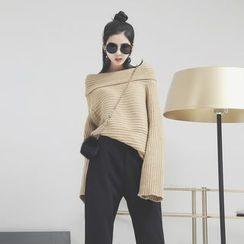 Sonne - Bell-Sleeved Boatneck Knit Sweater