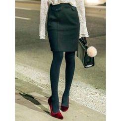 LOLOten - Mock Flap-Pocket Mini Pencil Skirt