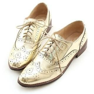 Miss Dora - Genuine-Leather Perforated Oxfords