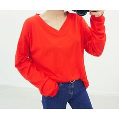 HOTPING - V-Neck Cotton Pullover