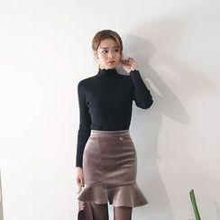 DABAGIRL - Velvet Asymmetric Mini Mermaid Skirt