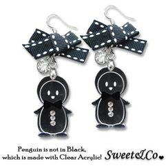 Sweet & Co. - Lovely Black Ribbon & Bowtie Penguin Earrings