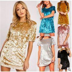 HOTCAKE - Elbow-Sleeve Velvet T-Shirt Dress