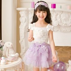 Candy Rain - Kids Short-Sleeve Lace Trim Top